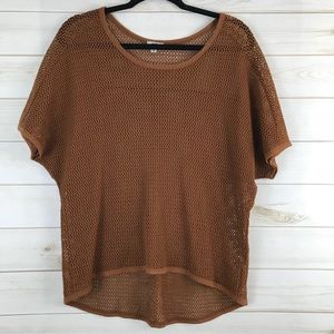 Ecote S Open Knit Sweater Sheer Short Sleeve Brown
